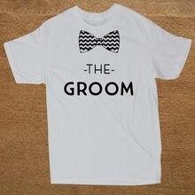 e7d84fe0d Marca de Roupa Do Noivo Padrinhos de Casamento Festa de Despedida de  solteiro Equipe Funny T Shirt Homens Camiseta de Algodão De.