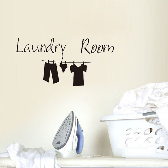 ZOOYOO Laundry Room Wall Sticker Lovely Clothes Wall Decals Funny Design  Home Decor Art Murals Decoration