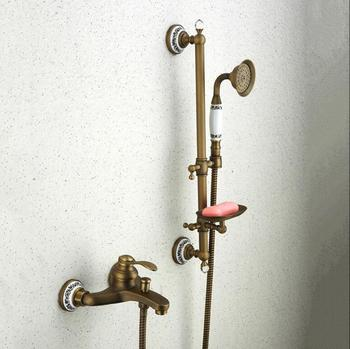 Bathtub Faucets Antique Bronze Bathroom Tub Mixer Faucet New Ceramic Style Hand held Bathtub Faucet Wall Mounted Shower Faucets