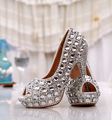 Nova chegada de ouro do dedo do pé aberto plataforma strass sapatos de casamento branco sapatos de noiva da princesa plus size sapatos frete grátis