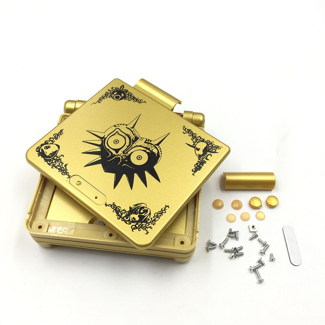 Gold Plastic Housing Shell Case Cover for GBA SP Majoras Mask Limited Edition