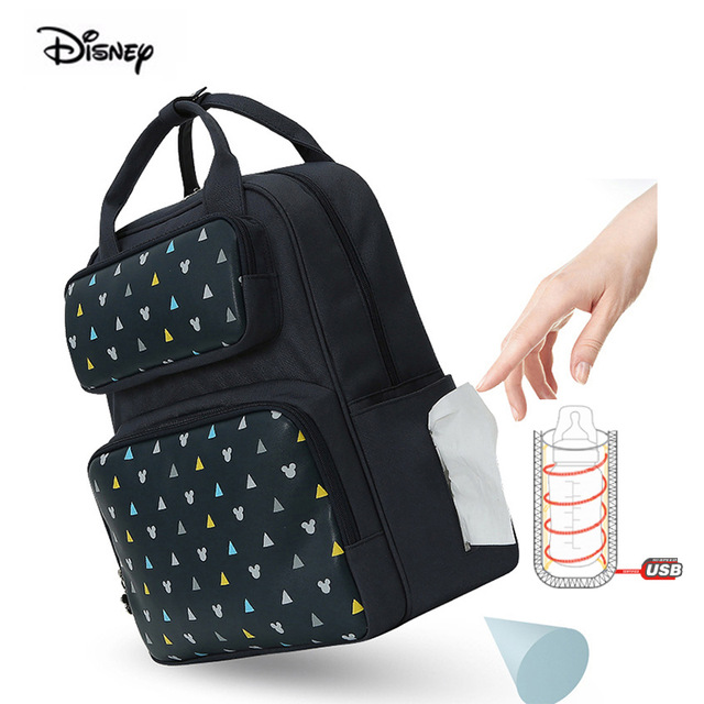 Disney USB Bottle Insulation Baby Bag For Mom Waterproof Maternity Backpack Stroller Bag Diaper Nappy Backpack