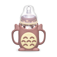 240ml Totoro Glass Baby Feeding Milk Bottle with Handle and Gravity Ball Suction Tube BPA Free Infant Juice Feeding Bottle