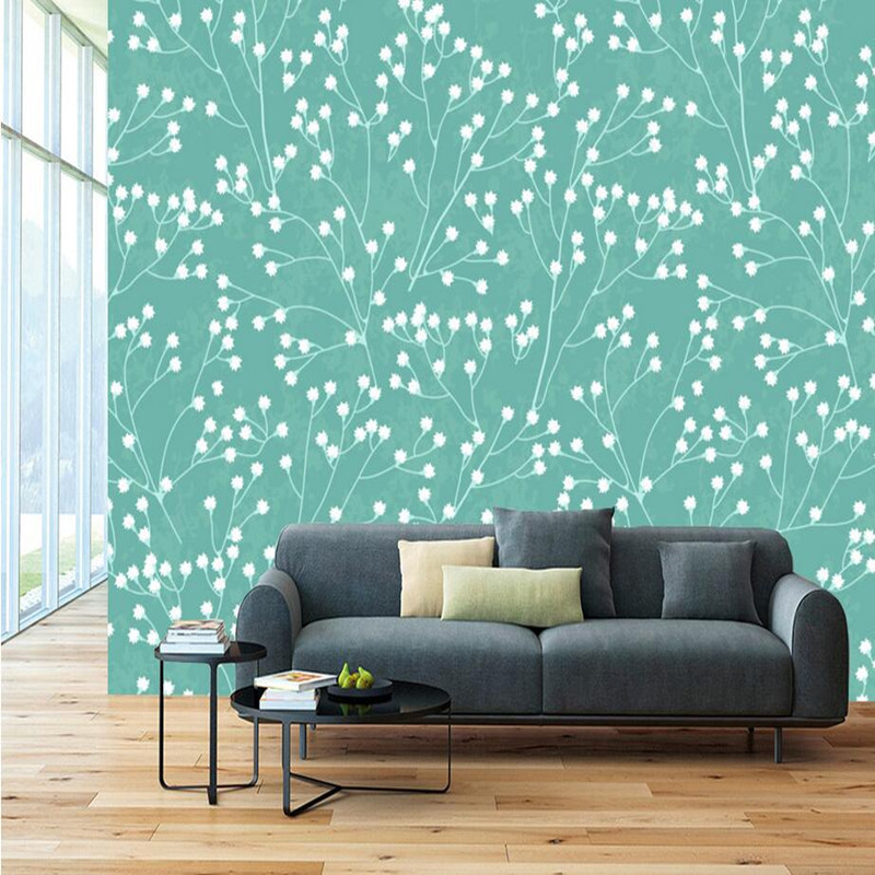 Custom Photo Wallpaper 3D Wall Murals Simple Elegant Wall Stickers Hand-painted White Flower Beauty Wallpaper for Walls 3D Mural custom wallpaper for walls 3 d effect flower murals simple hand painted desktops wall mural blue flower wallpapers living room