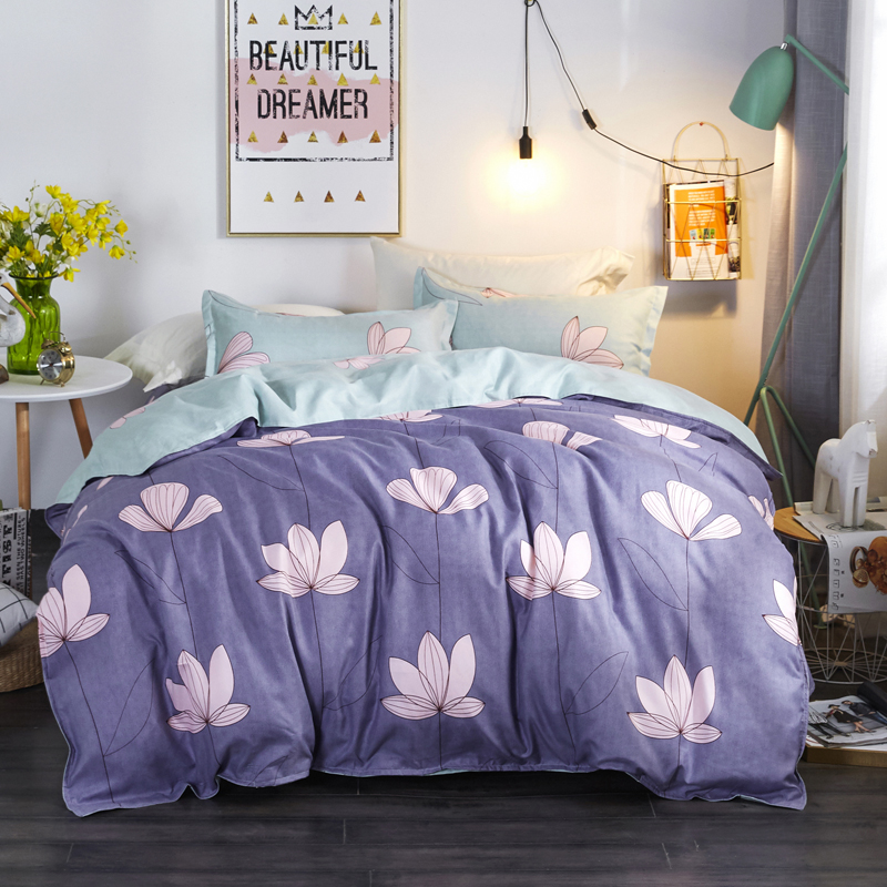 Fashion Purple Print Bedding Sets Set Reactive Polyester Soft Printing Hot Sale Comforter Bed Set King Queen Full Size 3/4 Pcs