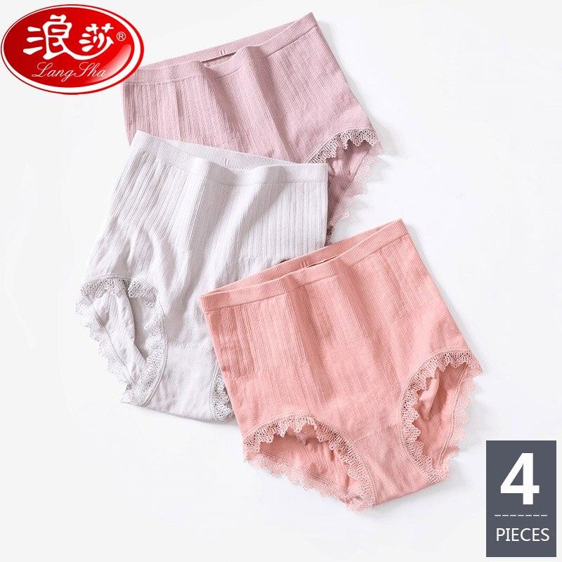 4Pcs High Waist Women Shapers Abdomen Soft Cotton Slimming Underwear Ladies Body Shaperwear Fitness Lace Control Panties LANGSHA