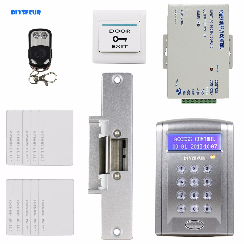DIYSECUR Remote Controlled ID Card Access Control Security System Kit With Doorbell Button + Strike Lock + 10 Free ID Card diysecur remote controll id card reader password keypad access control security system kit strike lock kd2000