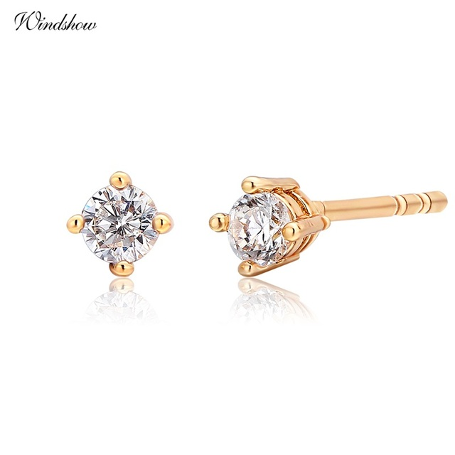 Yellow Gold Color Four Claw Round Cz Mini Small Stud Earrings For Womens Kids S Baby