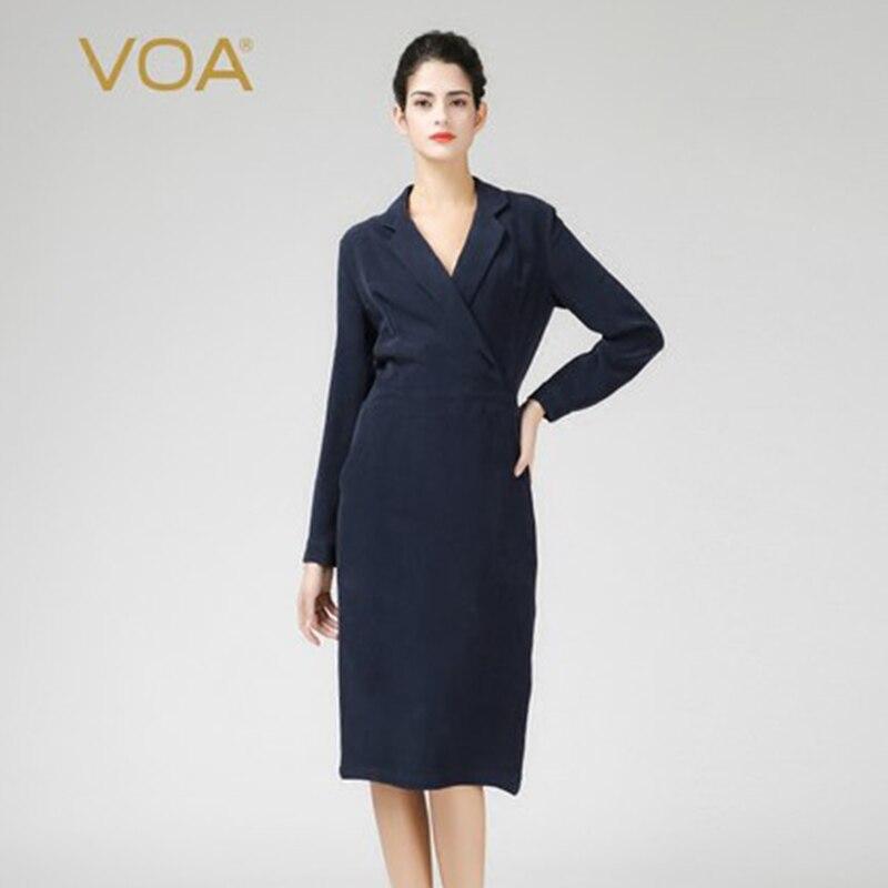 ddba21bc4ff VOA Heavy Silk Sexy Office Work Dresses Long Sleeve Brief Solid Women Navy  Blue Slim Pencil Dress Fall Long Sleeve Ladies A3059