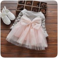 Autumn New Baby Girls Dress Lace Patchwork Cute Bow Infant Girls Tutu Dress Newborn Long