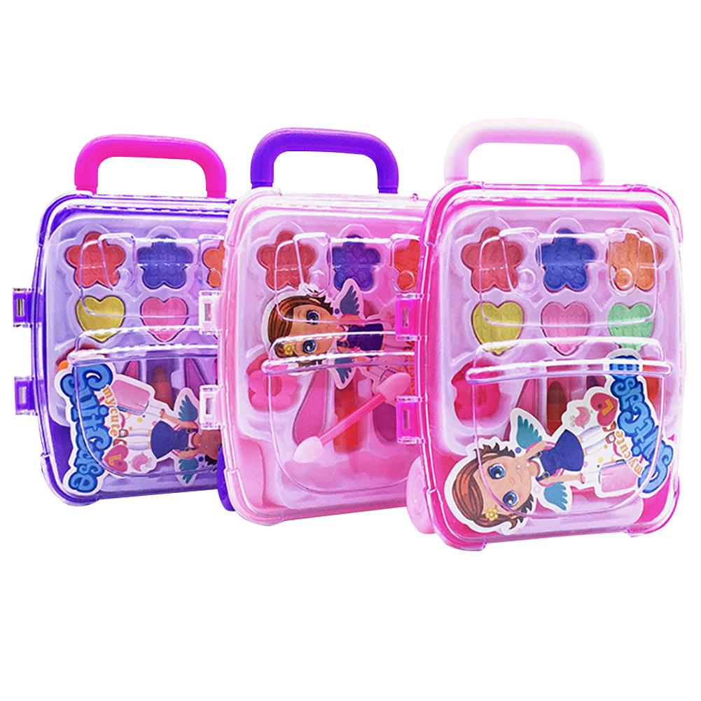 Children's Cosmetics Princess Makeup Box Trolley Case Shape Eye Shadow Lipstick Safe Nontoxic Girl Toy Set Birthday Present