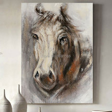 hand made Pop Art white grey Canvas Painting horse Poster Animal herd Oil Modern Wall Picture decorative art