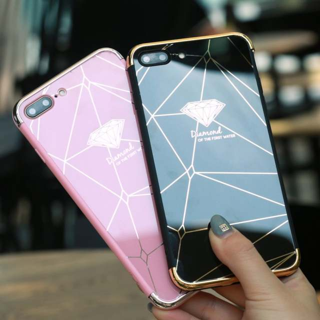 US $2 0 20% OFF|Luxury Diamond pen Drop Mirror Pink soft cover case for  iphone 6 6S S plus 7plus 8 8plus X 10 Fashion diamond phone cases funda-in