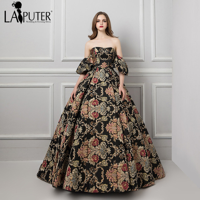 0c088d8399 US $179.0 |Laiputer 2018 Arabic Evening Dresses with Removable Sleeves  Strapless Black A line Embroidery Printed Prom Dresses Long-in Evening  Dresses ...