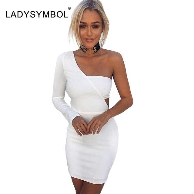 on sale e67fd fe570 Ladysymbol Autunno Una Spalla Vestito Bianco Elegante ...