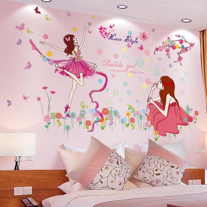 [SHIJUEHEZI] мультфильм девушка наклейки на стену DIY танцовщица настенные наклейки для дома детей номеров Детские Спальня в детском саду украшения