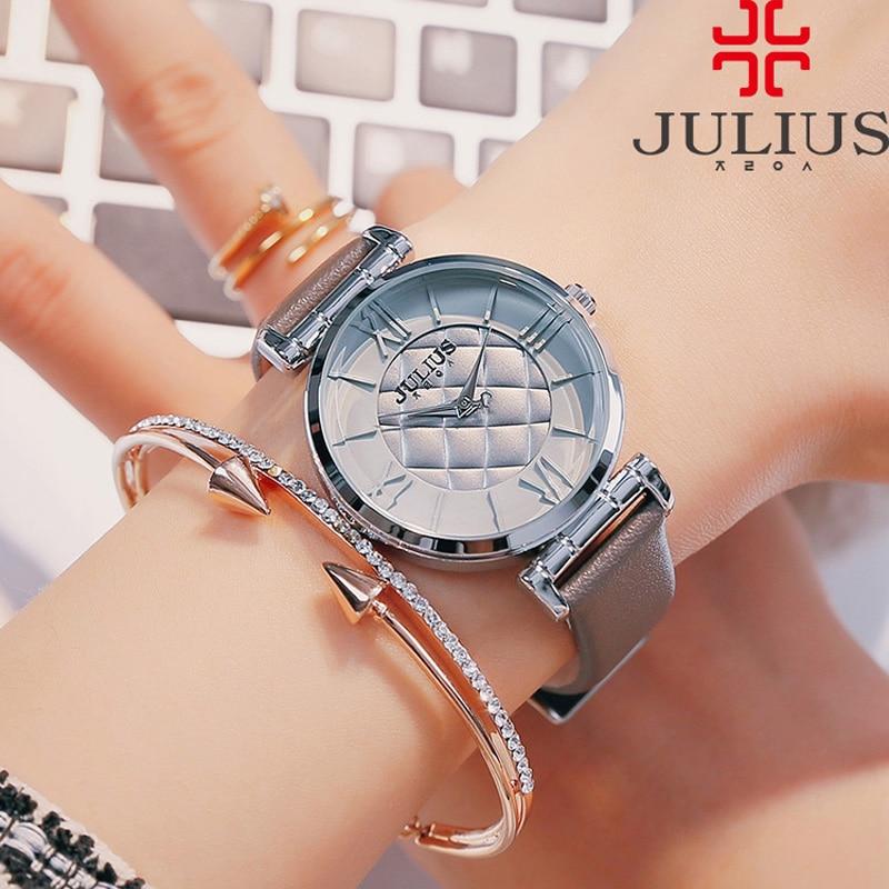 Lady Women's Watch Japan Quartz Hours Fashion Clock Rhinestone Checkboard Dress Bracelet Leather Girl Birthday Gift Julius цена