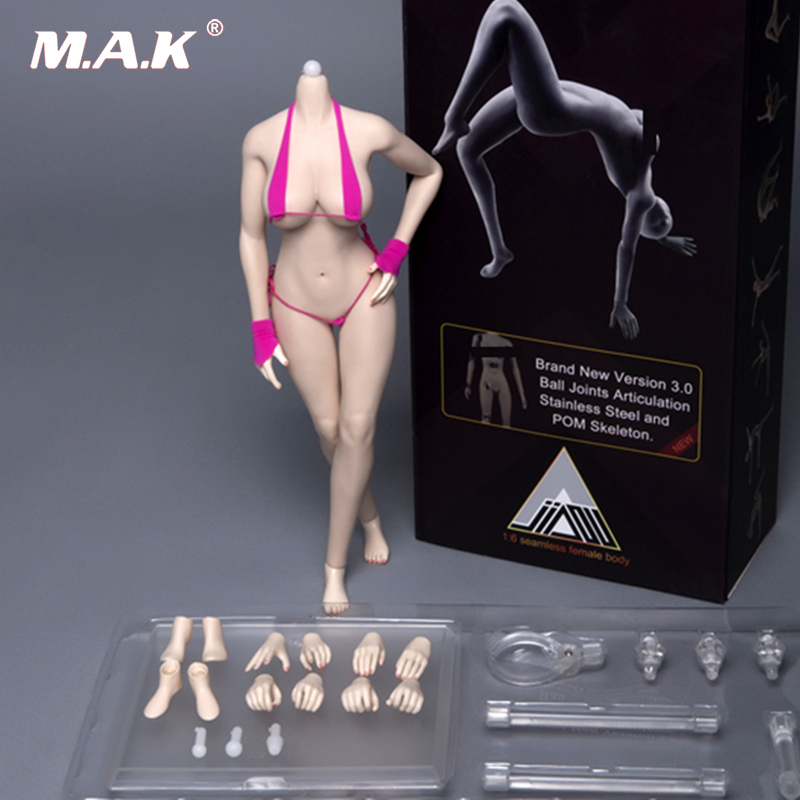 New hot pale/ suntan/KT skin Color 1/6 scale Seamless Asian female body with Mid Breast Bust Female Body for 1/6 Head Figure Set