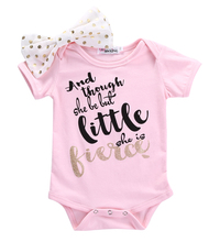 Pudcoco Toddler Infant Newborn Baby Girl Little Princess Jumpsuit Bow Knot Letter Printing Bodysuit