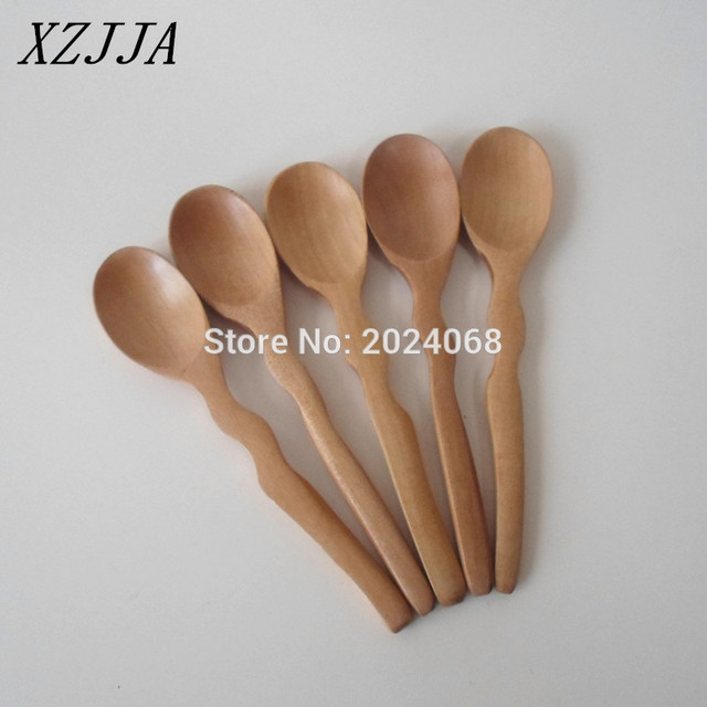 5pcs Natural Japanese Curved Handle Wooden Spoon Kitchen Supplies Coffee  Stirrer Tea Honey Spoon Healthy Eco