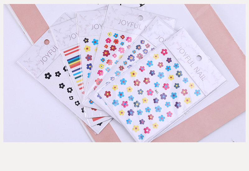 Nail Sticker Kim Hyun A Style Nail Decal Flower Strawberry Egg Spring and Summer Design Stickers Press on Nails Manicure (2)