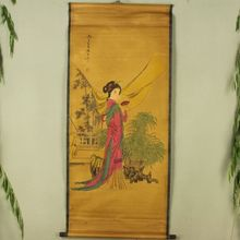 Antique collection Boutique Calligraphy and painting the fan female diagram