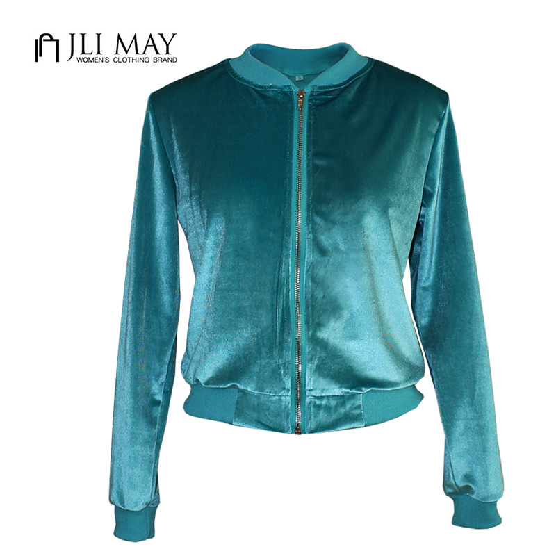 JLI MAY Zipper Bomber   Jacket   women Turtleneck Velvet long sleeve Solid Color Blue Green Short coat casual winter   basic     jackets