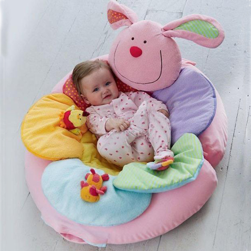 ELC Blossom Farm ELC Cute Cattle Shape Baby Mat Multifunctional Inflatable Game Pad Plush Blanket Sofa Crawling Mat Game Blanket