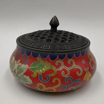 China collectible the brass cloisonne lotus Incense burner