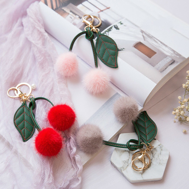 f8903473527 Ptslan Keychain Fluffy real mink fur cherry Ball Pompom Key Chain Keyring Bag  Charm Trinket cute