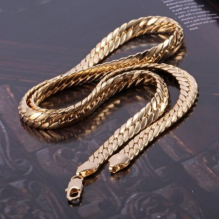 Heavy 79G splendid men's yellow solid gold GF snakeskin necklace chain 23.6 Not satisfied, 7 days no reason to refund yellow days montreal