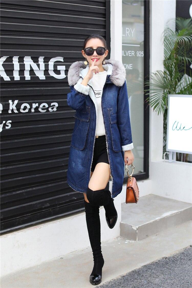 En Laine Taille La Coton Longues Corée Mode Cowboy Épaissir Plus D'hiver Blue Vêtements De Manches Capuche Manteau D'agneau À q80RxZw