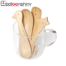 BalleenShiny Spoons Ice Cream Animal Wooden Cute Cartoon Giraffe Hippo Duck Whale for Kitchen Dinner Children Spoons Tableware