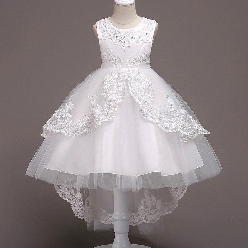 Платье с цветочным узором для девочек; Пышные свадебные вечерние платья с красным прицепом для девочек; кружевное вечернее платье принцессы для первого причастия - Цвет: white