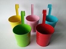 10 pièces/lot D9.5XH17CM suspendus seau de jardin pots de fer balcon Pot de fleur pour jardin denfants en métal école maternelle décoration