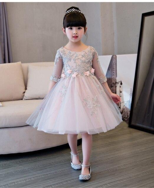 5ad861379 Vestidos de daminha Niñas Rosa malla Vestidos de fiesta apliques Vestidos  de flores de niña para