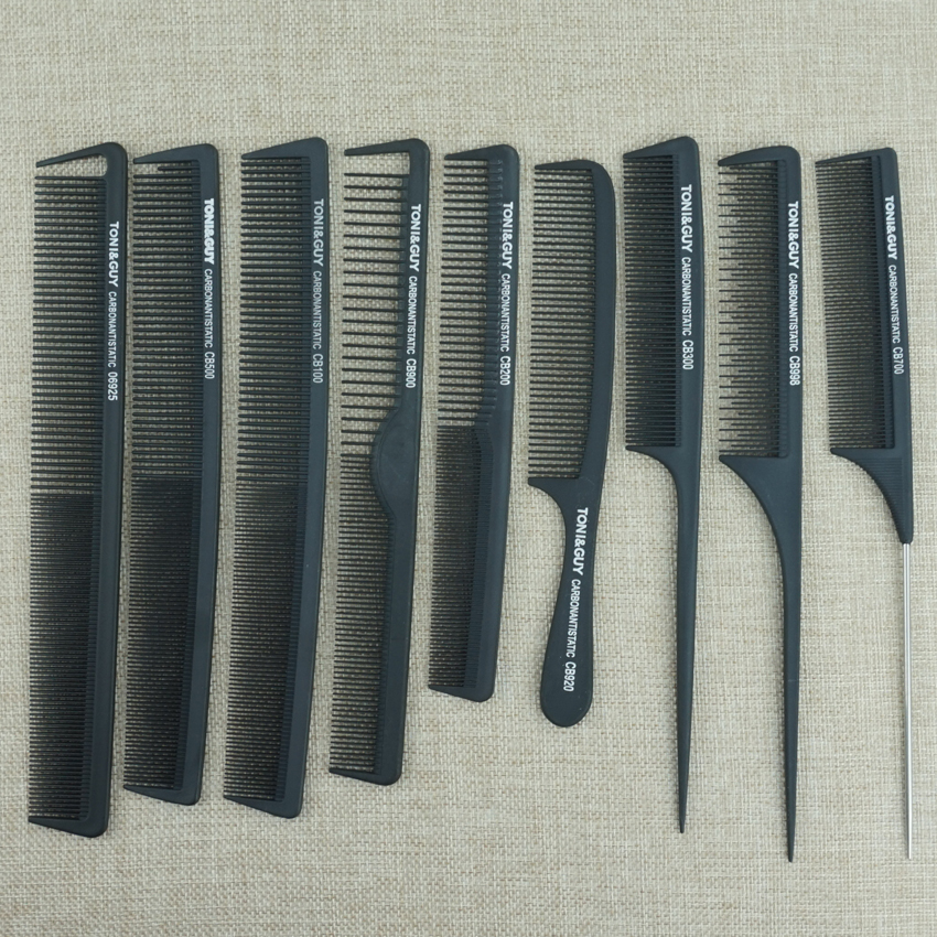 Këpucë me flokë të zi 9 copë Salloni flokësh karboni Kombinoni flokët antistatike dhe rezistente ndaj nxehtësisë Prerje krehje në materialin e karbonit