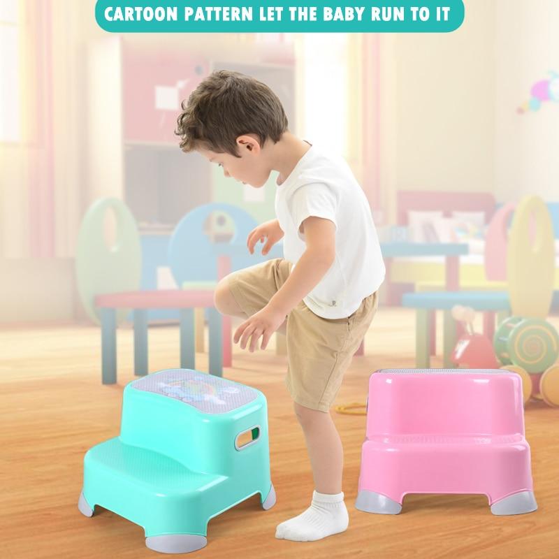 Kids Plastic Fashion Design Cartoon Baby Bathroom Step Stool For Baby