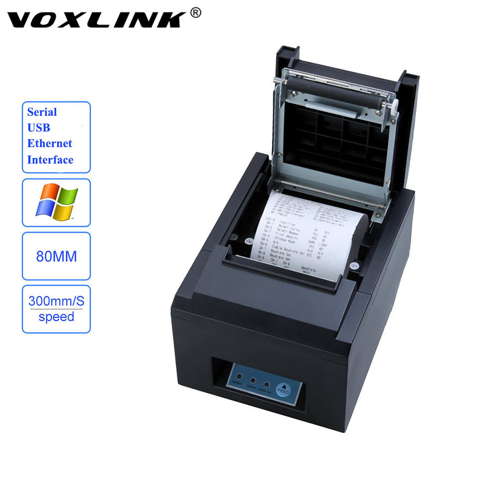 VOXLINK 80mm Auto Cutter Thermal Receipt Printer with Serial / USB / Ethernet Interface 300mm/s Thermal Printer_DHL