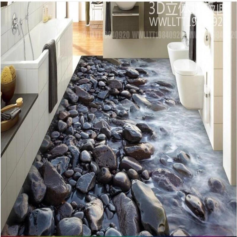 wellyu custom large murals river stone bathroom 3dpvc thick waterproof and wear resistant material floor tiles wallpaper