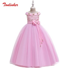 Girls Princess Belle Costume Pink Long Style Dress Bow-Knot Party Dresses Big girl Deluxe Wedding Gown