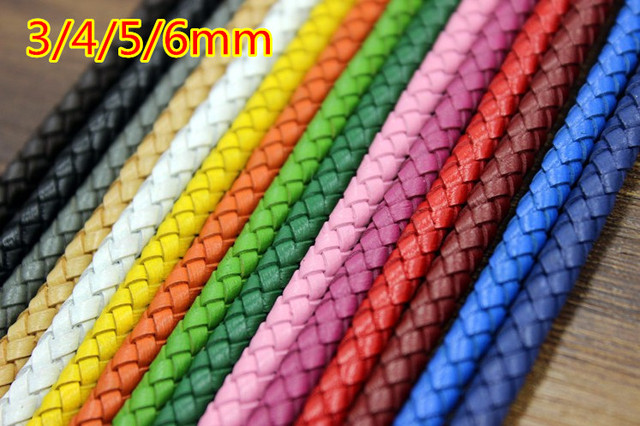 4mm Braid Genuine Round Leather Cord 18 color cowhide leather DIY Jewelry Necklace Bracelet Making String free shipping 5m