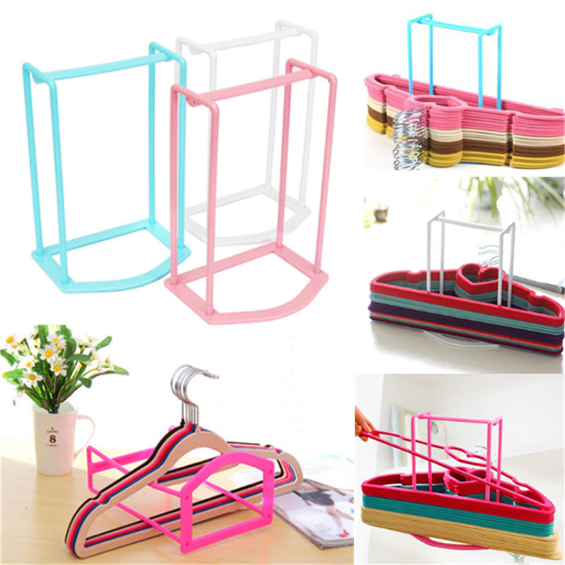 1Pcs Practical Plastic Clothes Hanger Stacker Holder Storage Organizer Rack  Stand Sorting Travel Home Household Tools 4 Colors In Storage Holders U0026  Racks ...