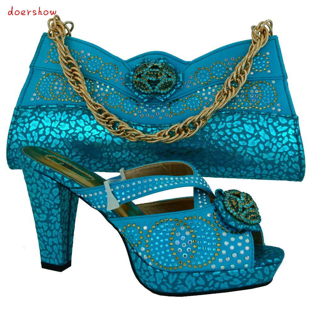 doershow high class African shoes and matching bags for wedding!factory price ladies shoes and bags with rhinestones!!HVB1-4