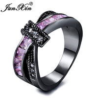 JUNXIN Princess Cut Pink Stone Crossed Rings For Women Black Gold Filled Square Birthstone Ring CZ Wedding Jewelry Accessories