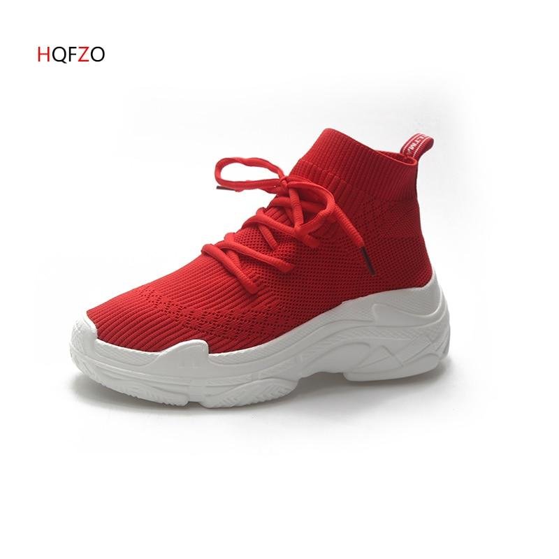 HQFZO дышащие эластичные тканевые носки уличная женская обувь на платформе эластичные теннисные кроссовки Feminino повседневная женская обувь