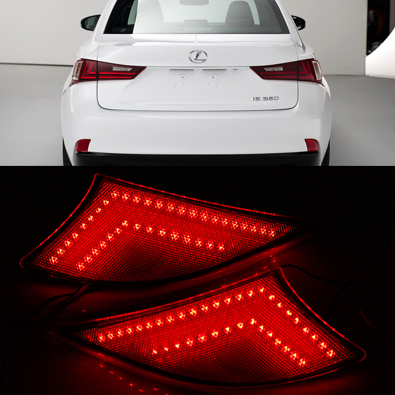 ФОТО 2*Car Red Len Rear Bumper Reflector LED Stop Brake Light Turn Signal Lamp For 2014-up Lexus IS 250/IS 300h/IS350/F-Sport (XE30)