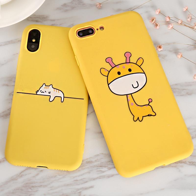 Cute Cartoon Giraffe kitten Yellow Case for iPhone X XR XS Max 5 5S SE 6 6S 7 8 Plus Cover Coque