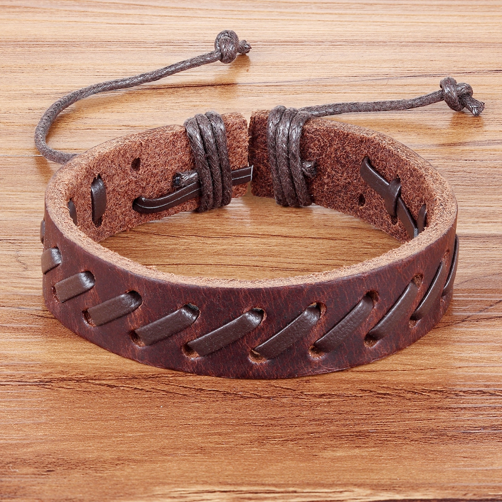 TYO Bohemia Lace-up Style Geometric Twining Rope Chain PU Leather Bracelet For Men Black & Brown Color Chain Accessories Jewelry