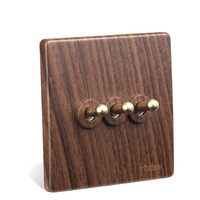 2pcs Antique Switch BE Wood Grain Copper Lever Three Open Single Control Switch Three Open Double